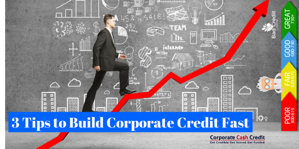 A man climbing up on a red arrow with a white animated character standing behind the Credit score chart