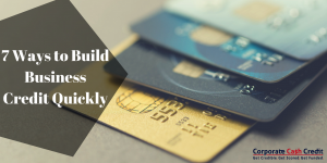 four credit cards of different colors represent ways to build business credit quickly
