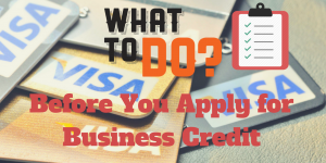 Showing business credit cards and a check list.